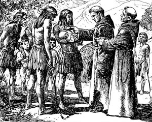 Illustration of priest blessing a native American child.