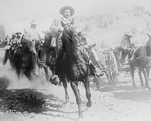 General Francisco 'Pancho' Villa on horseback, during the Mexican Revolution, 1914