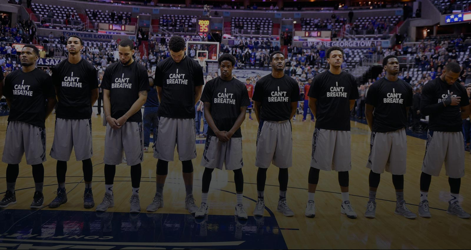 Basketball players wearing I Can't Breathe shirts