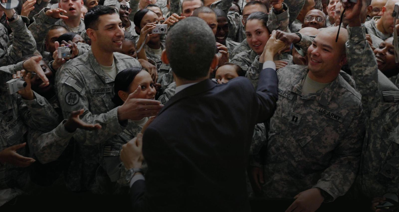 President Obama greets troops