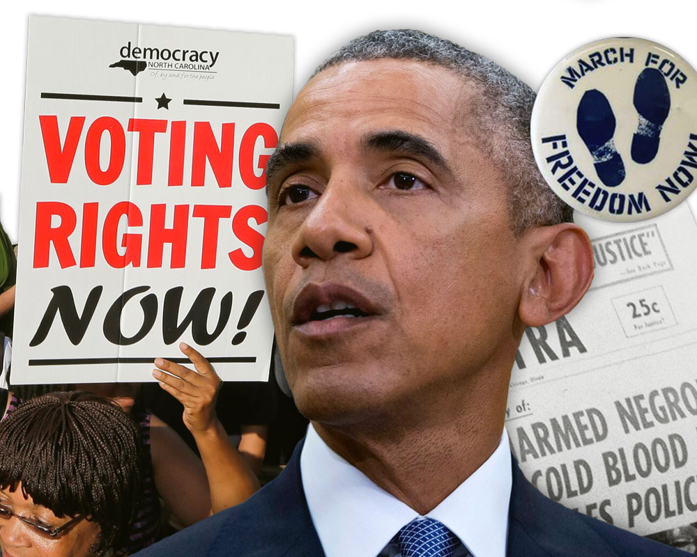 Montage of President Obama, a protest sign, a newspaper and a freedom march button