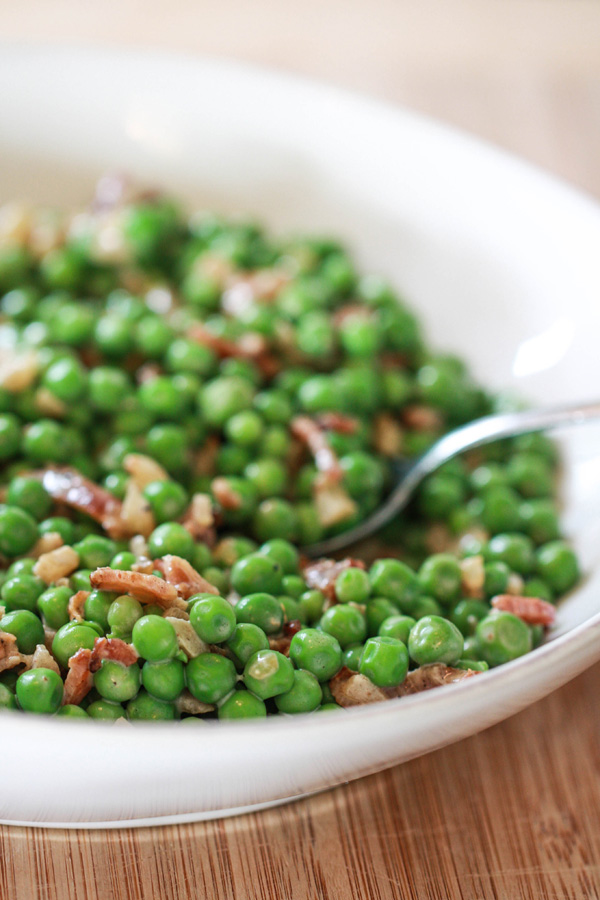 Toss Crème Fraiche and Bacon with English Peas