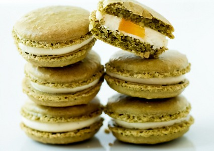 Helene Dujardin's Matcha Green-Tea Macaroons with Peach Pate de Fruits