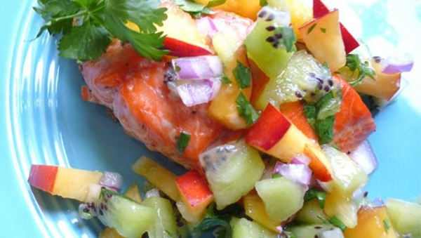 Grilled Salmon with Summer Fruit Salsa Recipe | PBS Food