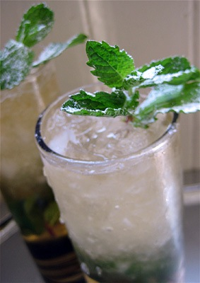 The Mint Julep is the official drink of the Kentucky Derby, and is made from a mixture of bourbon, powdered sugar, water and mint.