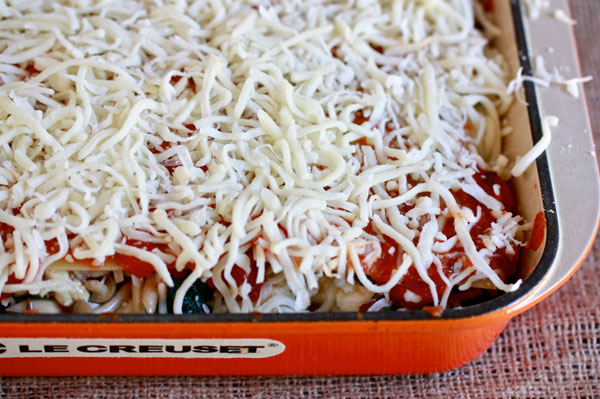 Lasagna before it goes in the oven