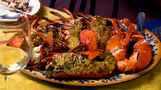 Roast lobster recipe with bread topping seafood recipes pbs food forumfinder Image collections