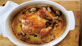 Roasted Capon with Mushroom-Truffle Stuffing