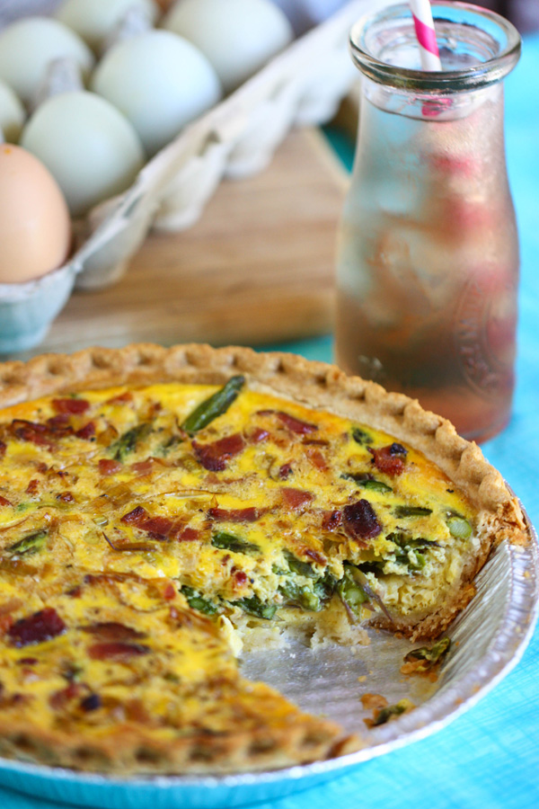 Asparagus Quiche is a springtime breakfast featuring leeks and bacon.