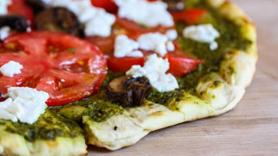 Grilled Goat Cheese and Pesto Pizza