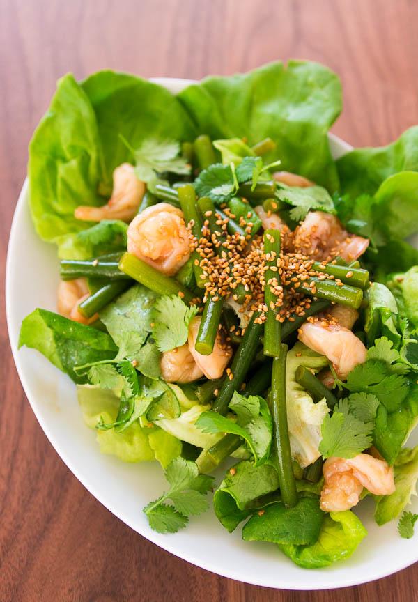 Garlic scape and shrimp salad