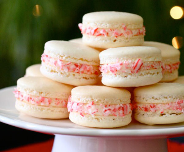 Candy Cane Macarons Holiday Gifts