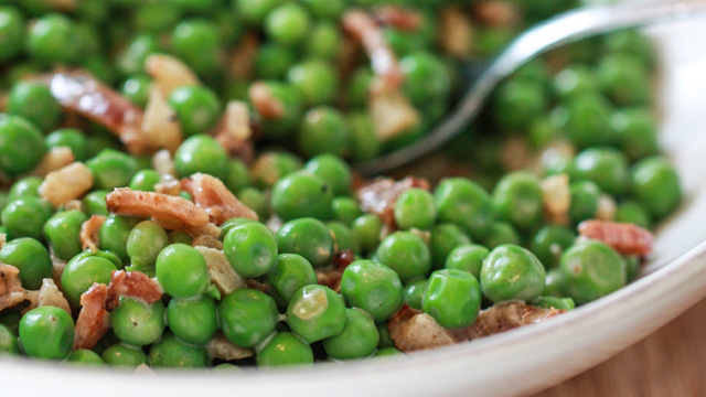 English Peas with Crème Fraiche & Bacon | Fresh Tastes | PBS Food