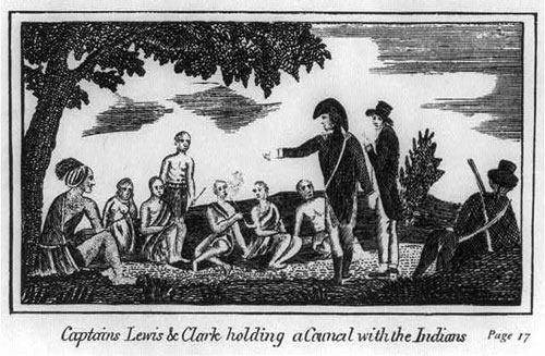 Captains Lewis and Clark holding a Council with the Indians. Source: Library of Congress.