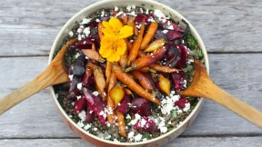 Lentils with Roasted Beets and Carrots recipe