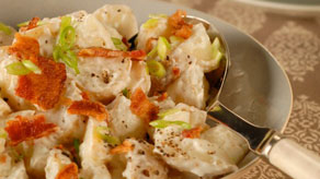 potato salad with sour cream and scallions