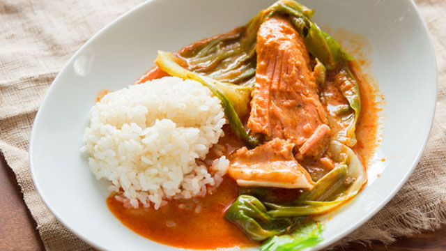 Cabbage Wrapped Red Salmon Curry