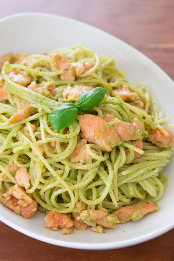 Smoked Salmon Pasta with Basil Cream Sauce