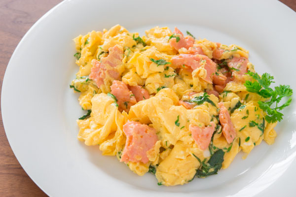 Smoke Salmon and Herb Scramble