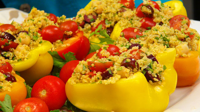 Chickpea and Quinoa Salad in Pepper Bowls