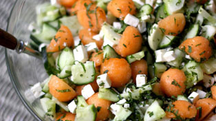 Minty Cucumber and Cantaloupe Salad