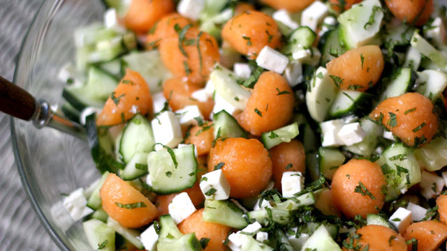 Minty Cucumber And Cantaloupe Salad Side Dish Recipes Pbs Food Cucumber and cantaloupe salad from the public domain cookbook by the seattle & king county department of public health—original source of recipe, government resource in the public domain. minty cucumber and cantaloupe salad