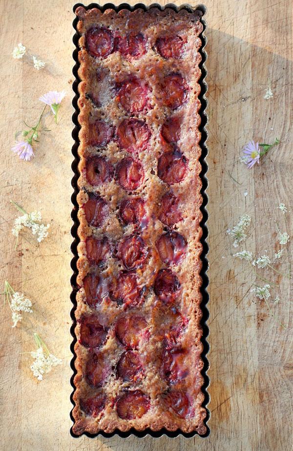 Plum Almond Crustless Tart recipe
