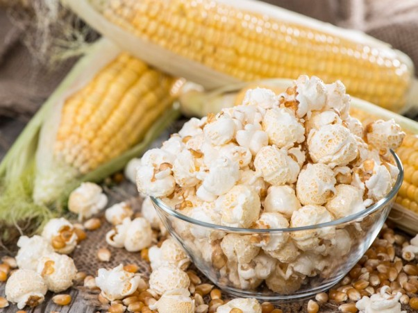 Small portion of fresh homemade Popcorn