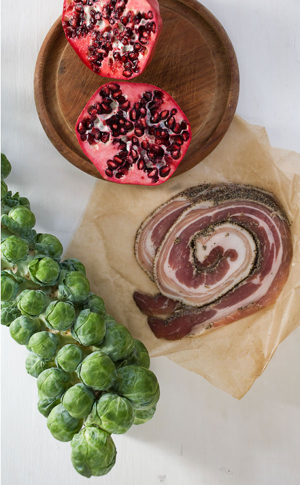Brussels Sprouts with Pomegranate and Pancetta recipe