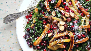 Kale, Pomegranate, and Parsnip Salad recipe