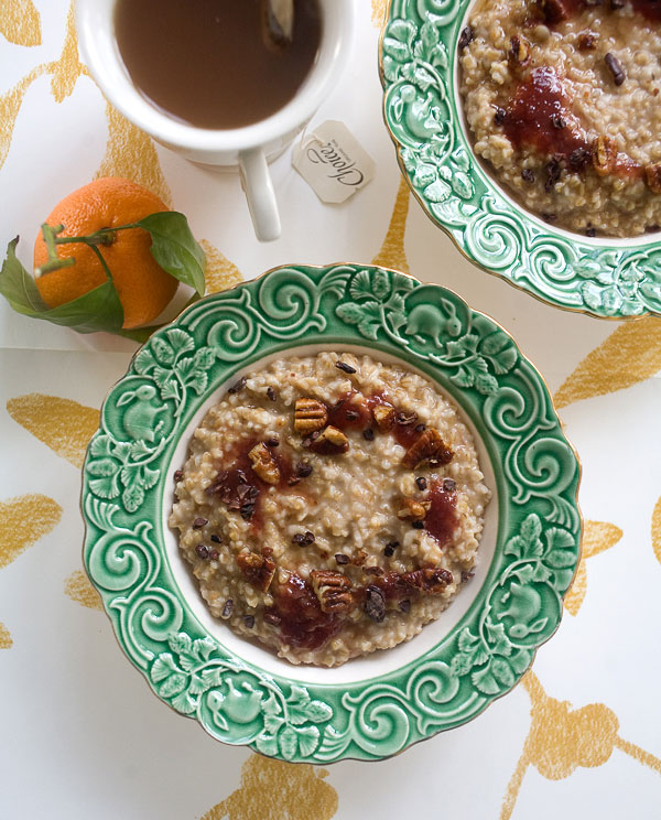 Steel Cut Porridge with Honeyed Pecans