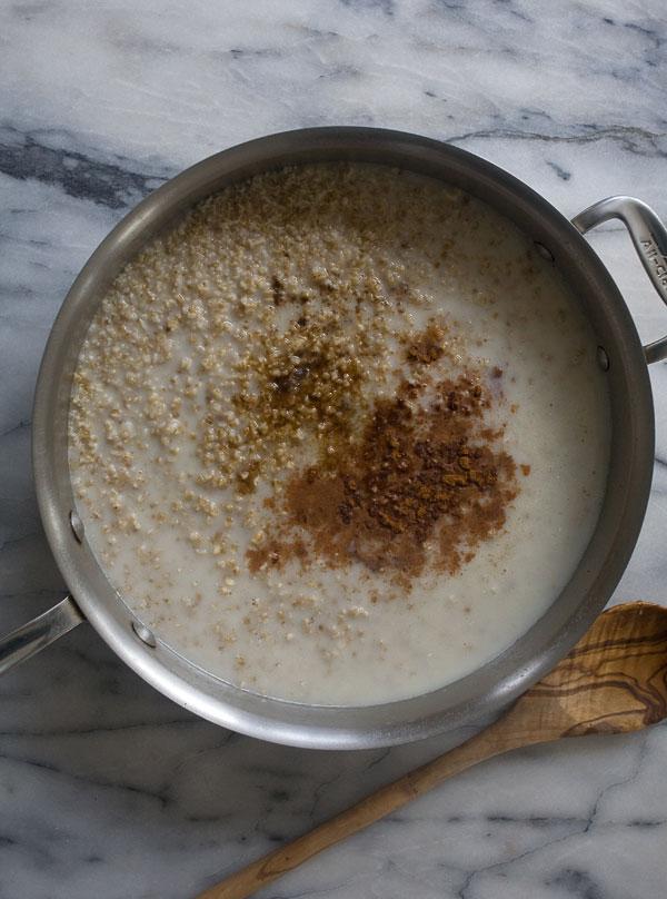 Steel Cut Porridge with Honeyed Pecans