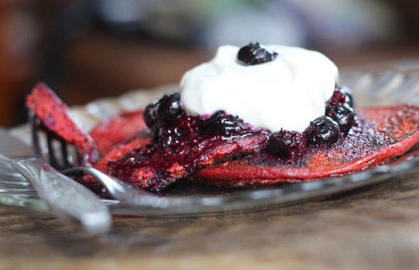 Beet-Colored Red Velvet Pancakes recipe