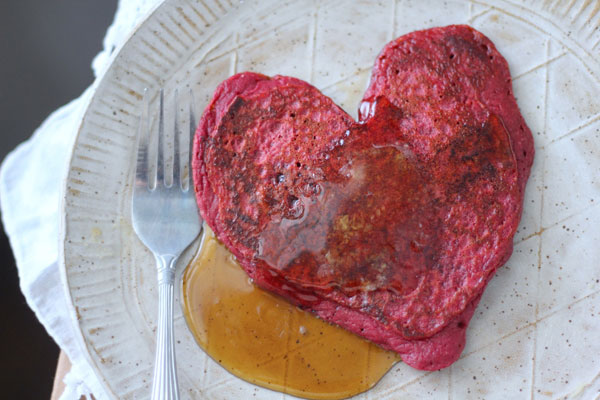 This Red Velvet Pancakes recipe is dyed with beets - perfect for Valentine's Day breakfast.