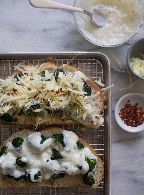 Broccoli and Cheese Tartine recipe