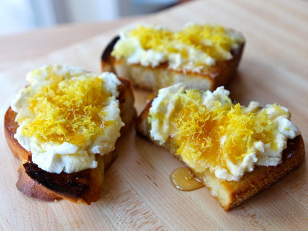 Challah Bruschetta recipe with Lemon, Ricotta, and Honey