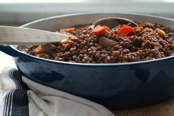 Stewed Lentils And Tomatoes Recipe — Dishmaps