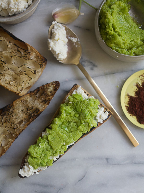Fava Bean Mash Ricotto Toasts recipe