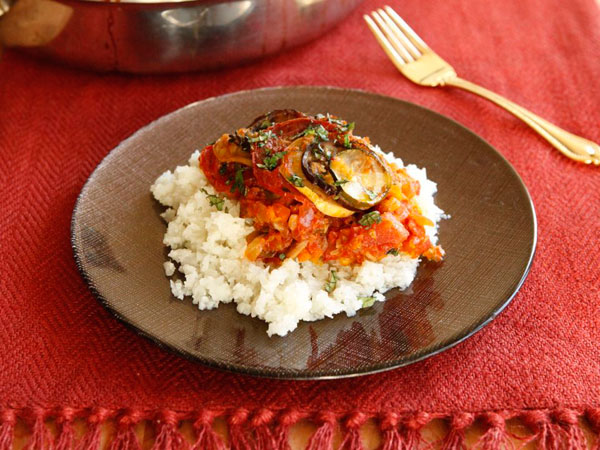 Spicy Smoky Ratatouille Casserole with Cauliflower Couscous recipe