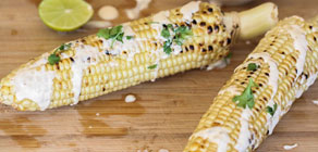Grilled Corn with Poblano Crema recipe