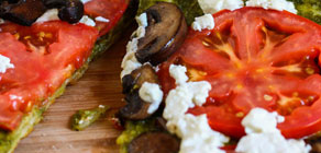 Grilled Goat Cheese and Pesto Pizza recipe