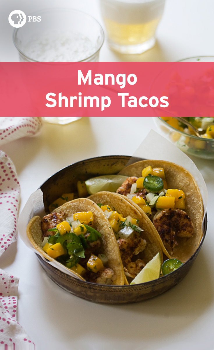 This Mango Shrimp Tacos recipe is quick and easy weeknight meal with salsa.