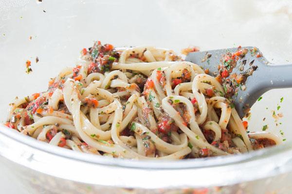 Mediterranean Udon Salad recipe