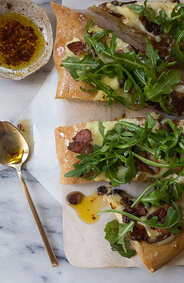 Spicy Pancetta Pizza with Camembert, Arugula and Caramelized Shallots