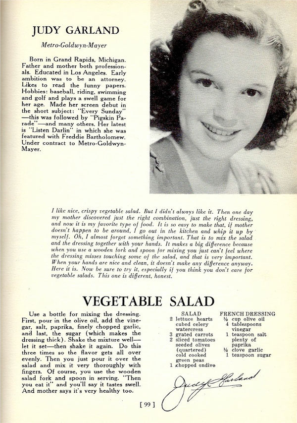 Judy Garland Vegetable Salad recipe
