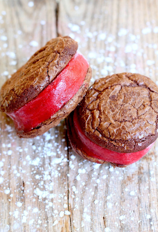 Strawberry Sorbet Brownie Sandwiches recipe
