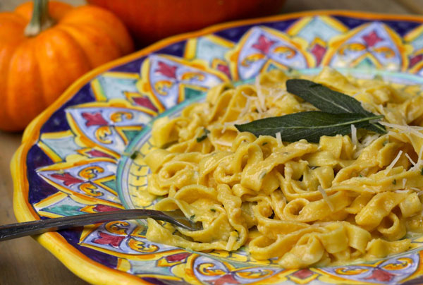 It's an autumnal twist on fettuccine Alfredo: thick homemade egg ...