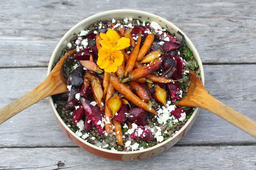 Lentils with Roasted Beets and Carrots