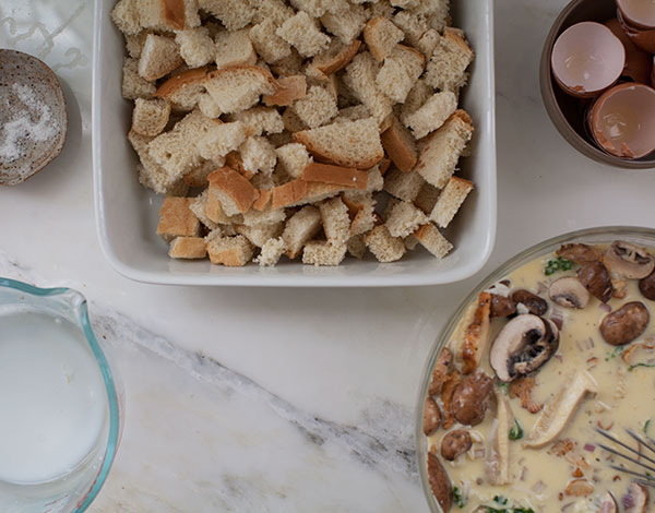 Smoked Cheesy Kale and Mushroom Strata recipe