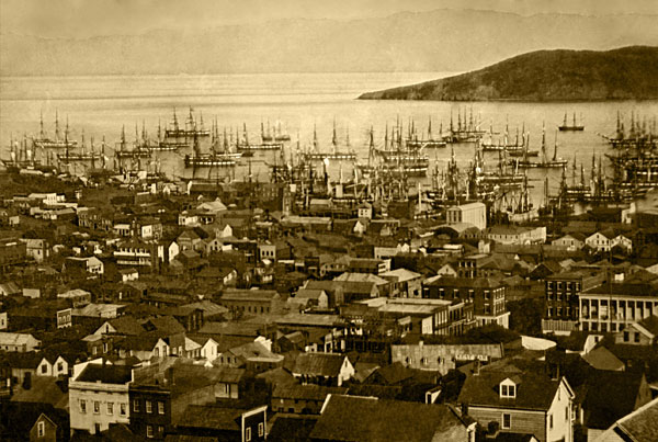 San Francisco harbor at Yerba Buena Cove in 1850 or 1851.  Source: Wikimedia Commons via Library of Congress